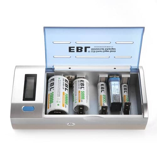 EBL Smart Battery Charger for C D AA AAA 9V Ni-MH Ni-CD w/ Discharge Function & LCD Display $13.99 AC