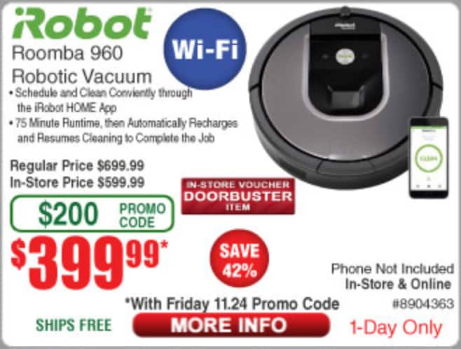 03c9870e201 Black Friday - iRobot Roomba 960 980 lowest price   Frys  399.99  598.00