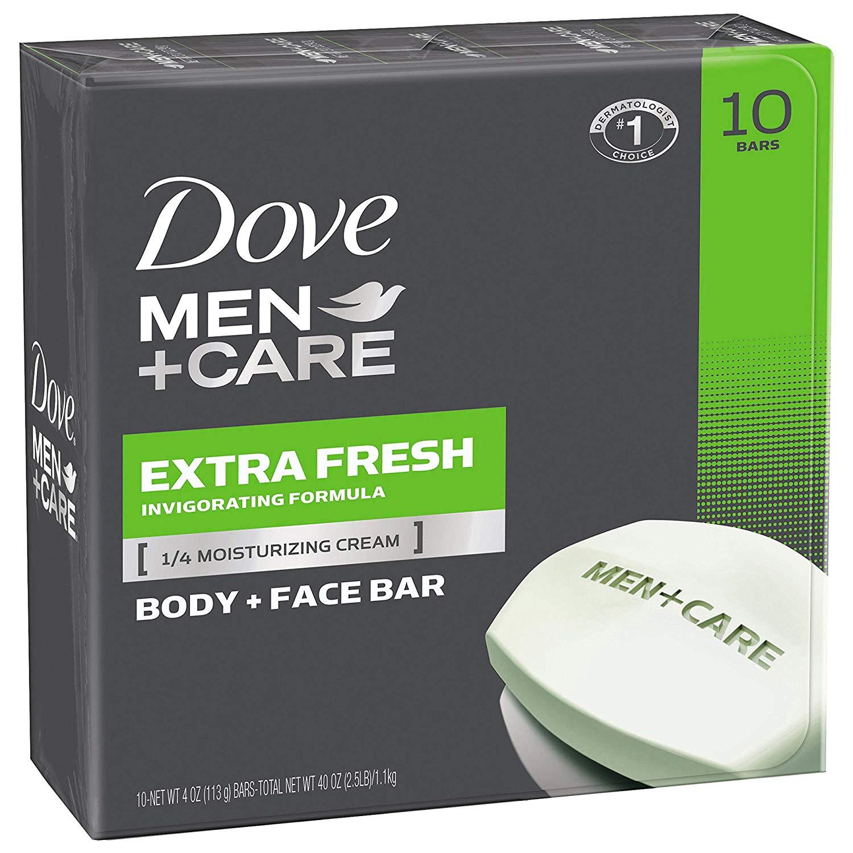 Qty.10 4oz Dove Men+Care Body & Face Bar (Extra Fresh) $7.13 - Amazon