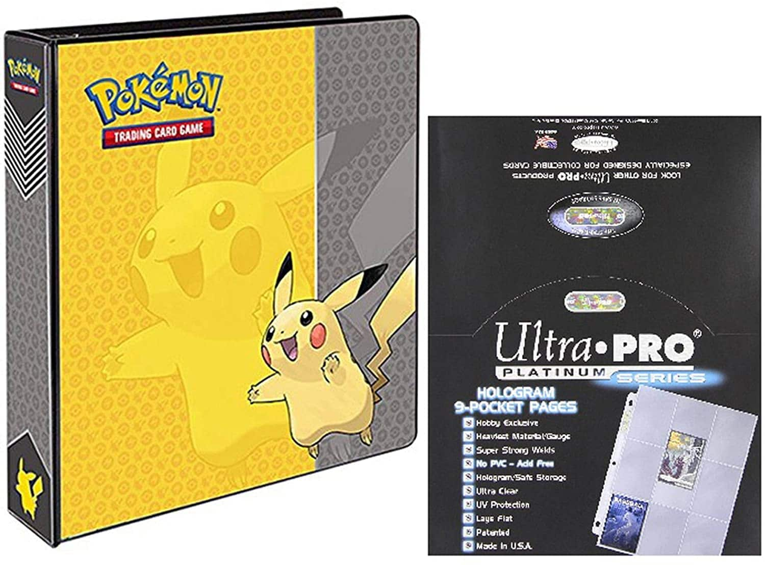 "Ultra Pro Pokemon Pikachu 2"" 3-Ring Binder Card Album with 100 Platinum Series 9-Pocket Sheets $17.67"