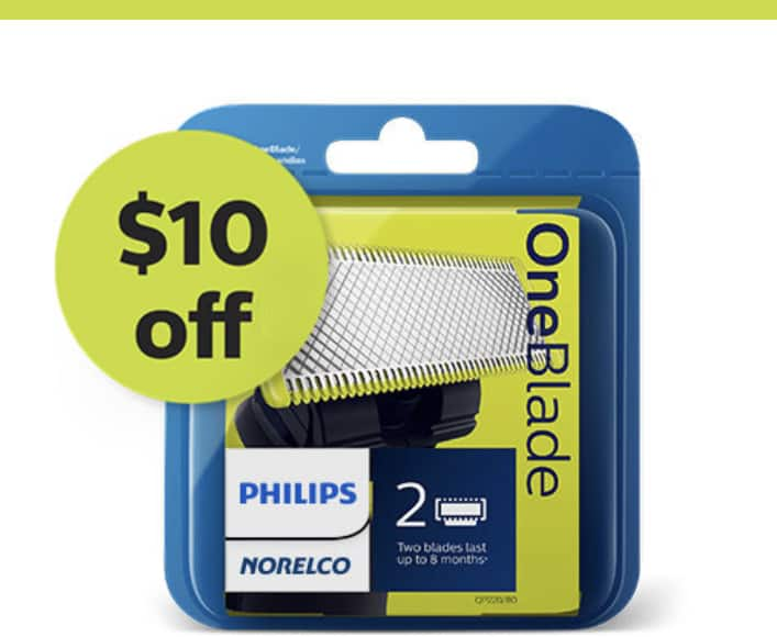 Philips oneblade $10 off your next replacement blade 2 pack $14.99 free ship Phillips shop