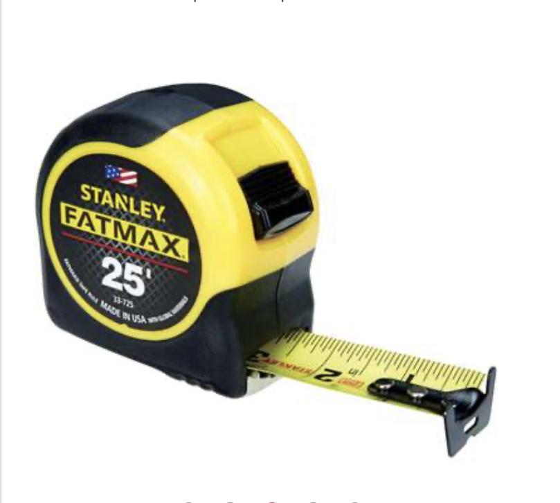 Stanley FatMax 25 ft. L x 1.25 in. W Tape Measure $9.99 acehardware.com or instore for reward members