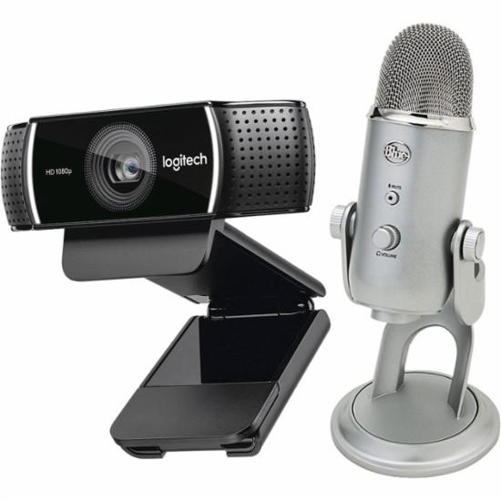 Logitech - C922 Pro Stream Webcam & Yeti Professional USB Microphone Package $149.99