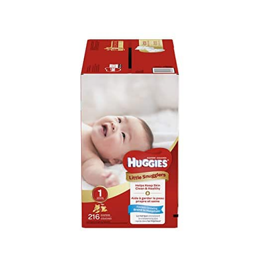 Huggies Little Snugglers Baby Diapers, Size 1, 216 Count (27.58$)  0.12$/count