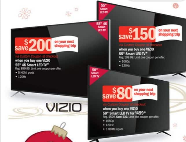 "55"" 1080p Vizio Smart TV E55-C2 $480 plus $166 off next shopping trip."
