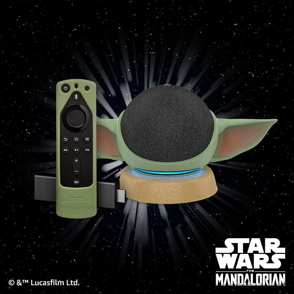 Echo Dot (4th Gen) - Charcoal and Fire TV Stick 4K with Star Wars themed remote cover (Grogu Green) and stand (stand will be released on June 10, 2021) $108.99