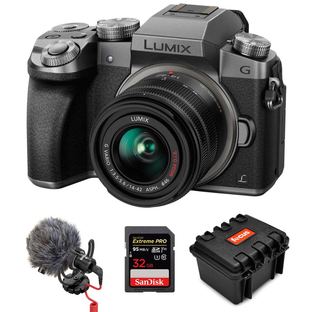 Panasonic Lumix G7 4K Mirrorless Camera, With 14-42mm (Silver) Holiday Bundle $439.99