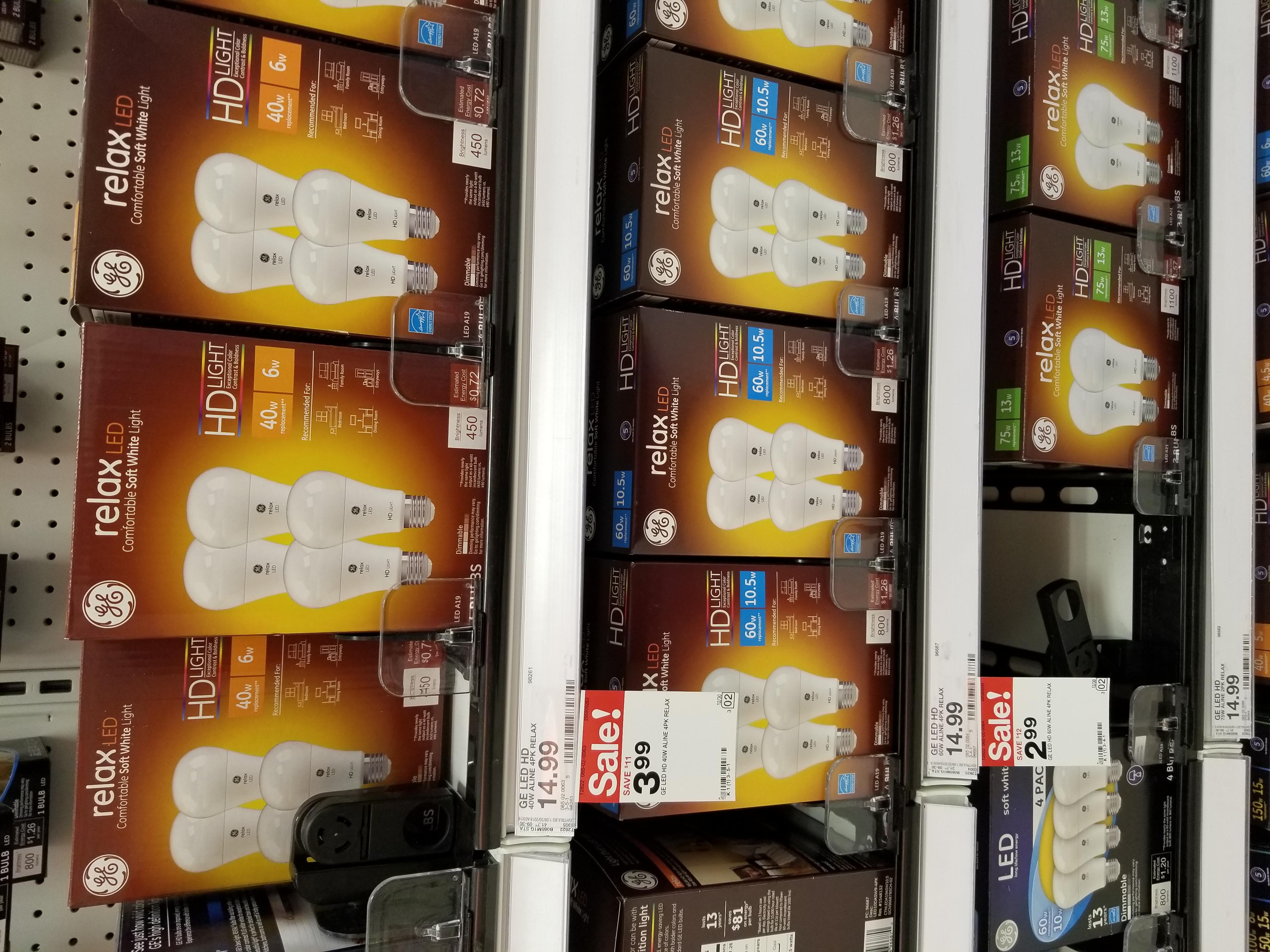 4/pk GE LED A19 Light Bulbs at Target B&M YMMV $2.99