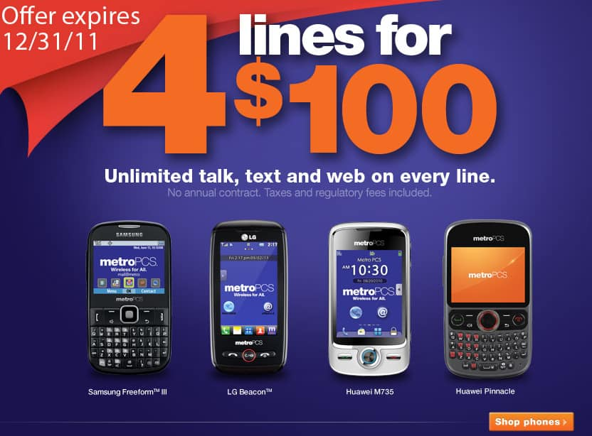 MetroPCS....4 lines for $100 wireless. Unlimited talk, text. web