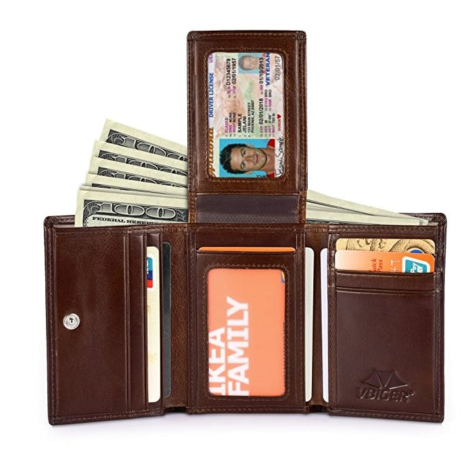 Mens Leather Wallet $9.99+ Free Shipping @Amazon original price $15.95