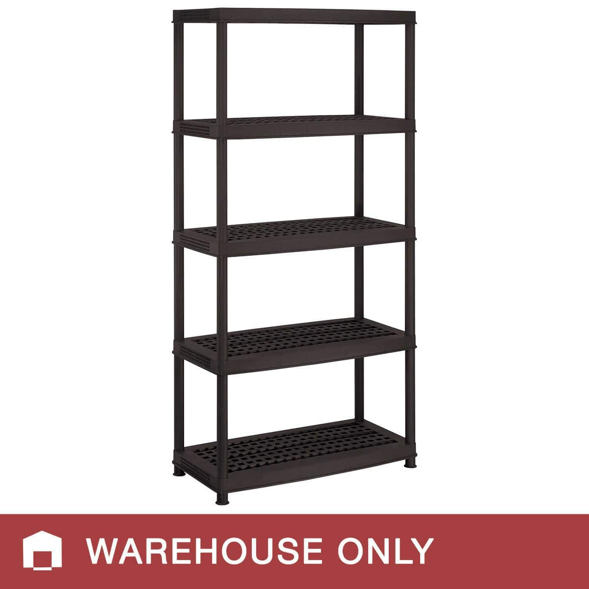 "Keter 5-Shelf Plastic Ventilated Storage Unit (Black, 72"" x 36"" x 18"") - In-store only $19.99"