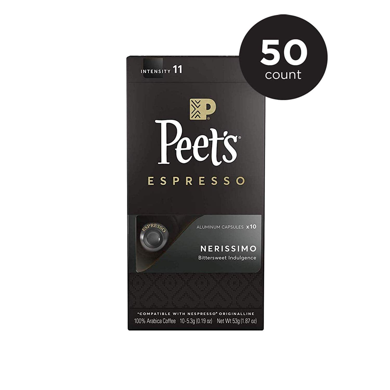Peet's Coffee Espresso Capsules Nerissimo, Intensity 11, 50 Count Amazon Warehouse Deal $16.83