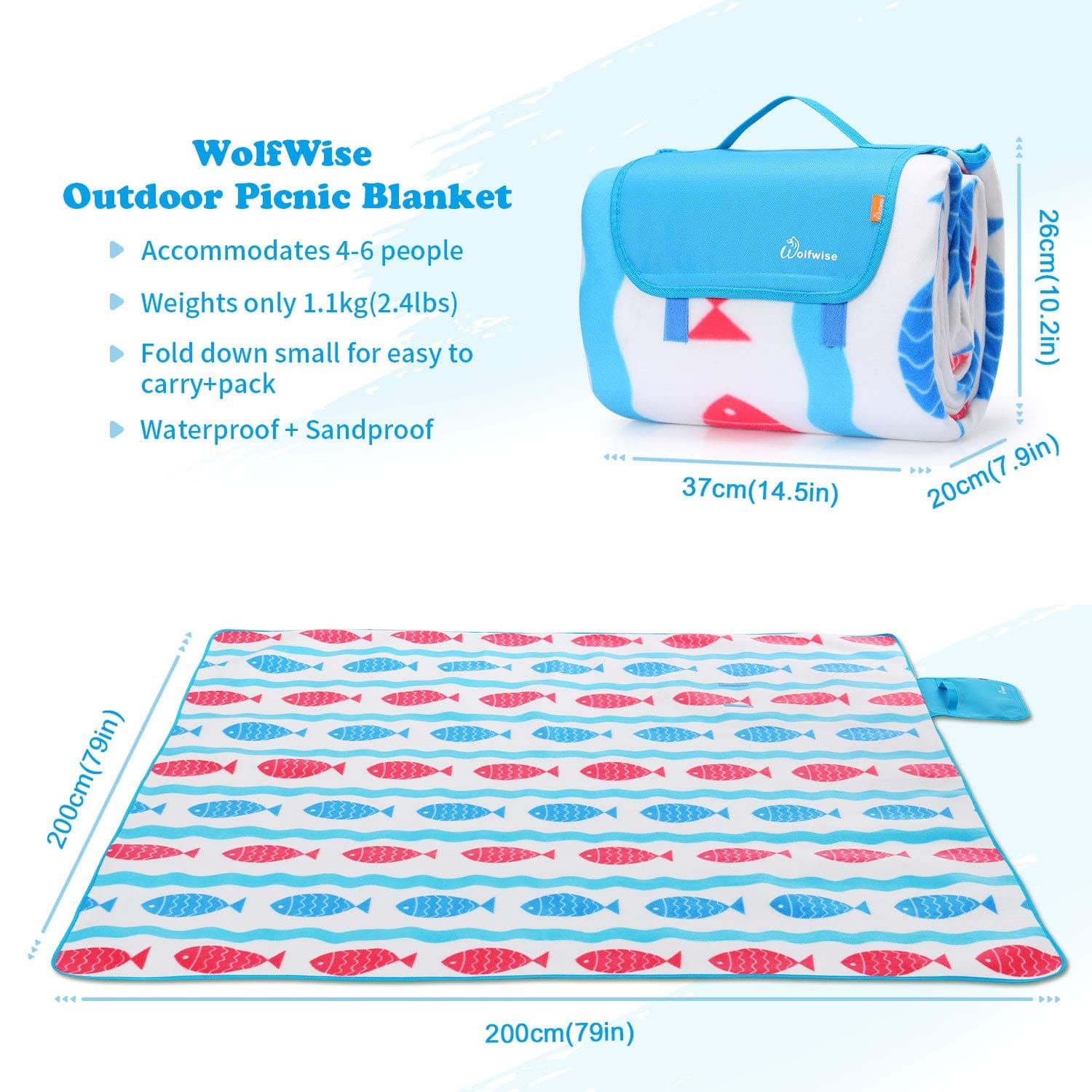 "WolfWise 79""x79"" XXL Picnic Blanket Extra Large Fleece Beach Mat with Waterproof Backing Anti Sand. $12.98"