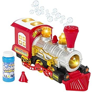 Steam Train Locomotive Engine Car Bubble Blowing Bump & Go Battery Operated Toy Train w/ Lights & Sounds (*PRICE DROP*) for $14.95(63% off) @amazon
