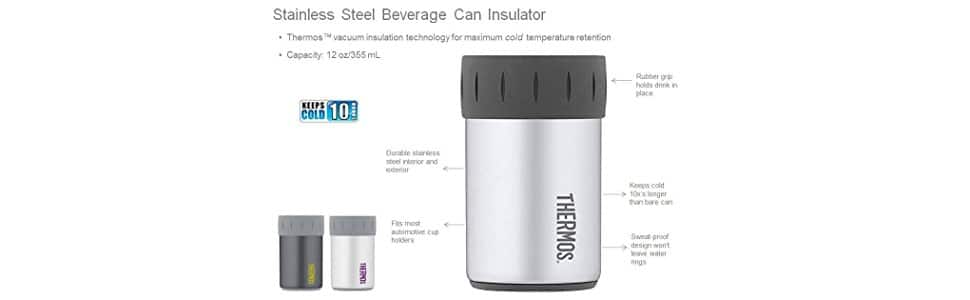 Thermos Stainless Steel Beverage Can Insulator for 12 Ounce Can, Matte White - $7.35 (37% off) @amazon $7.2