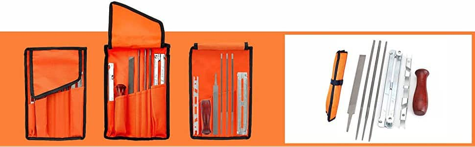 8 Piece Chainsaw Sharpener File Kit - has 5/32, 3/16, & 7/32 InchFiles, WoodHandle, DepthGauge,Pouch -For Sharpening & Filing Chainsaws ,Other Blade for $15.99 @amazon