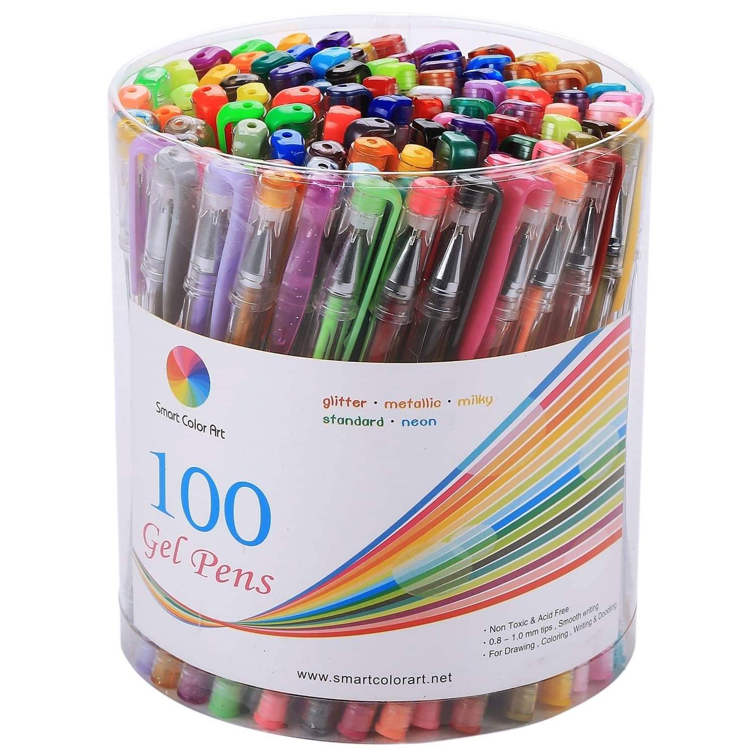 Smart Color Art 100 Colors Gel Pens Set for Adult Coloring Books Drawing Painting Writing for $13.97 @amazon