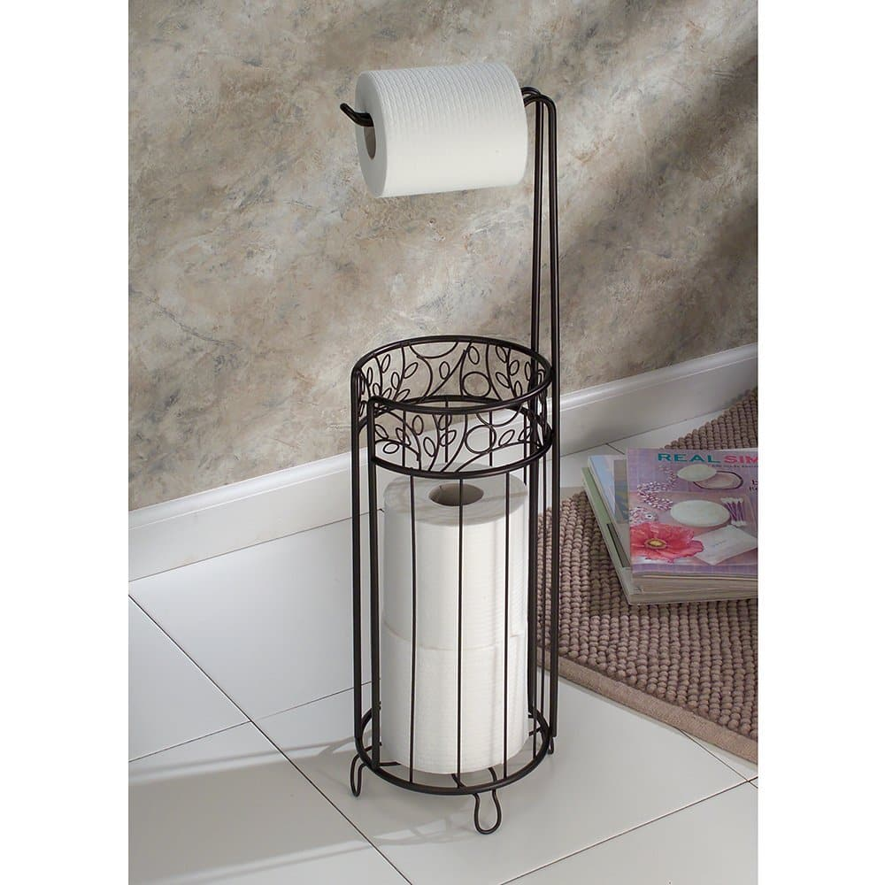 Interdesign Twigz Free Standing Toilet Paper Holder Dispenser And Spare Roll Storage For