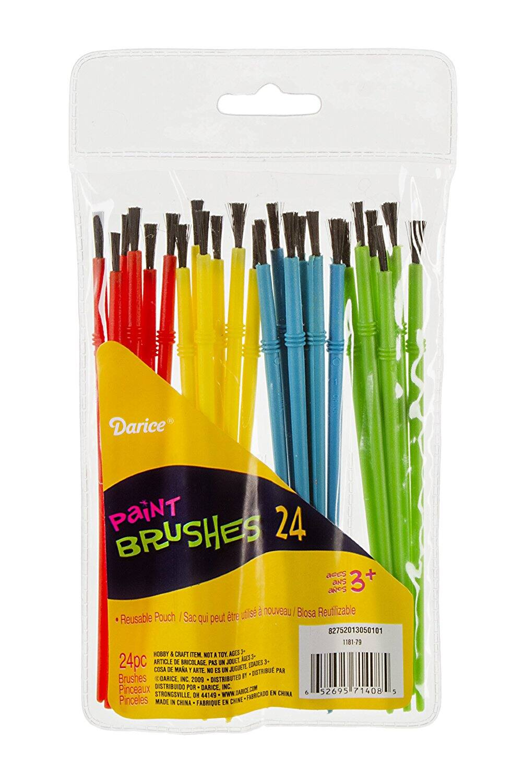 Darice 24-Piece Kids' Paint Brush Assortment at its Best Price $2.13 @amazon