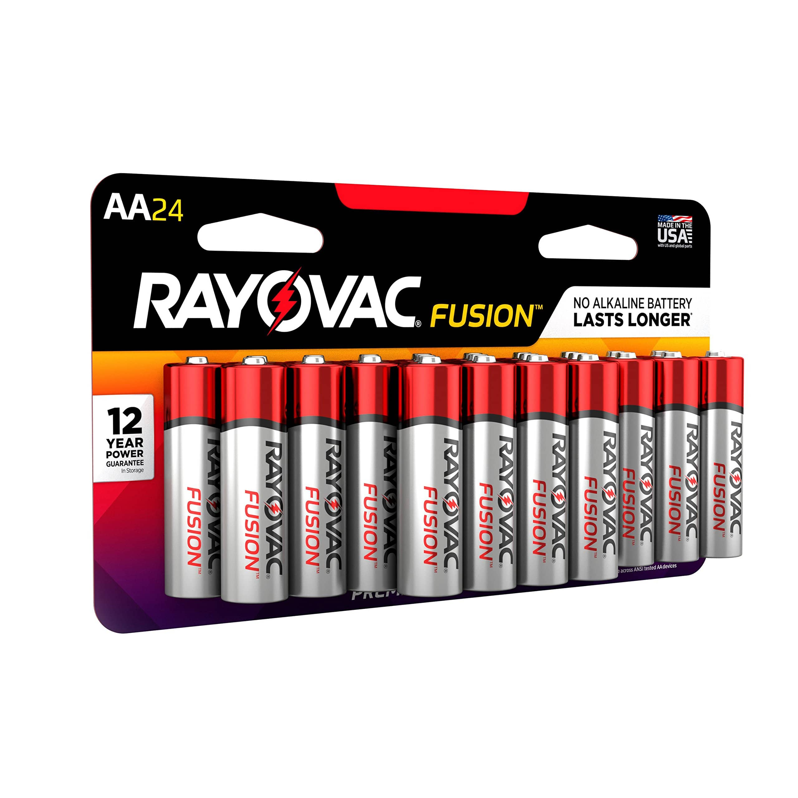 RAYOVAC AAA 24-Pack FUSION Premium Alkaline Batteries reduced price  $5.41 ($0.23 / Count)  @amazon as add-on item