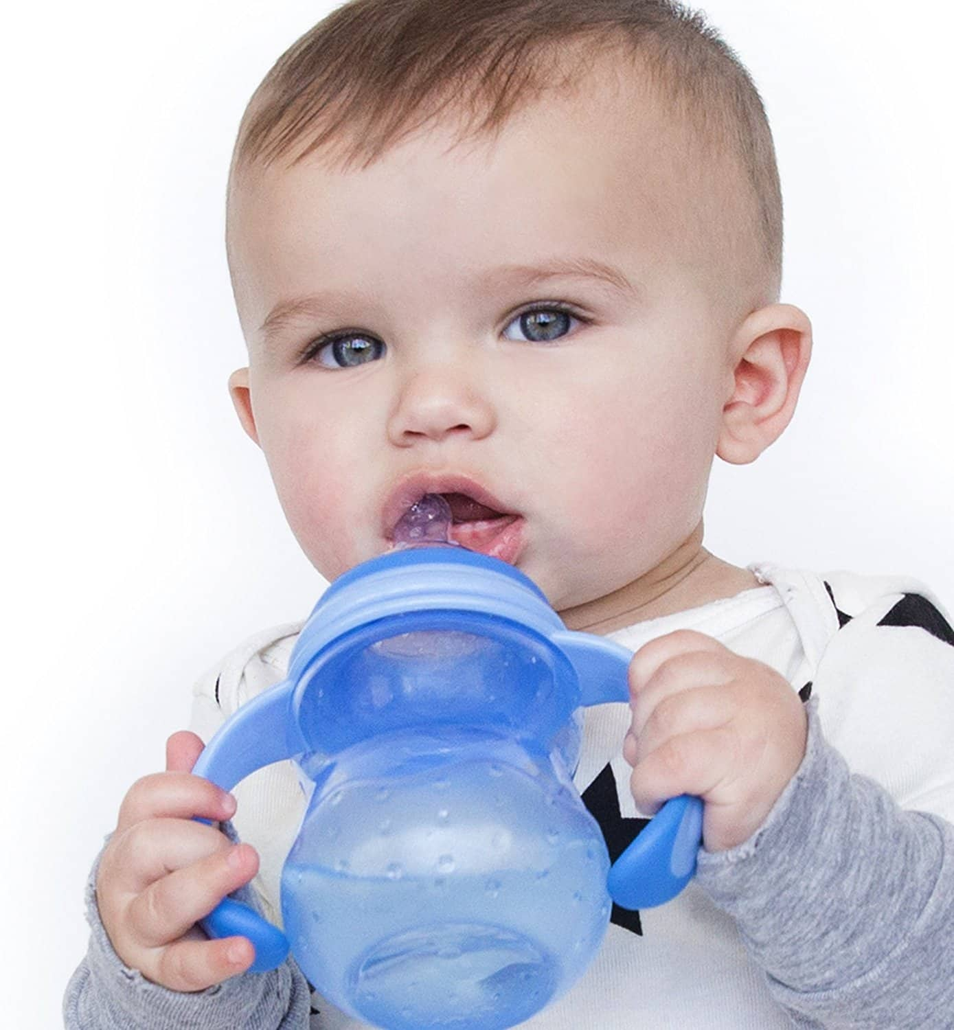 Nuby Non-Drip 3-Stage Wide Neck Bottle to Cup for kids, 8 Ounce, Colors May Vary at reduced price $2.50 @amazon as add-on item