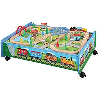 62 piece Wooden Train Set with Train Table / Trundle for Kids - BRIO ...