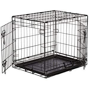 AmazonBasics  Double Door Folding Metal Dog Crate with Paw Protector at its best price $16.19 (42% off) @amazon