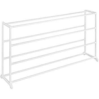 Whitmor 4 Tier 20 Pair Floor Shoe Rack White at its best price $5.23 (56% off) @amazon as add-on item