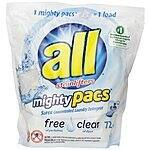 All Mighty Pacs Laundry Detergent, Free Clear, 72 Count $9.71 AC @ Amazon.com (Similar To Tide Pods)