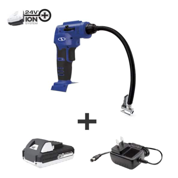 Sun Joe24-Volt iON+ Cordless Portable Air Compressor Kit | W/ 1.3-Ah Battery, Charger, Storage Bag, and Nozzle Adapters (Blue) $24.99 + S/H