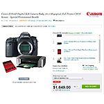 Canon EOS 6D + Pixma Pro-100 + SG-201 paper + 1 year drop & spill warranty $1299 AR @ Adorama