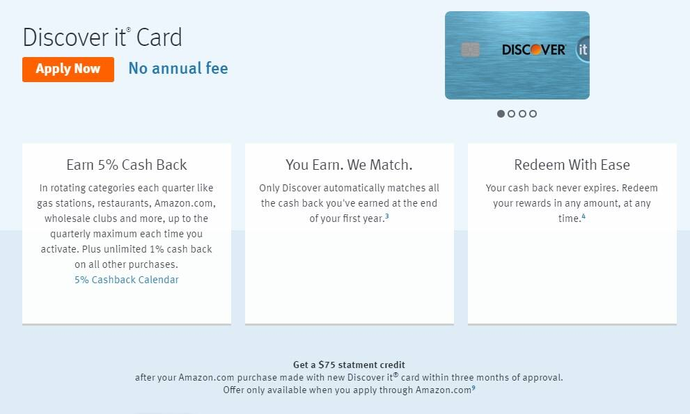 Discover New card deal - 75$ statement credit for amazon.com purchases (including prime membership) with a new discover it credit card! (NOT YMMV)