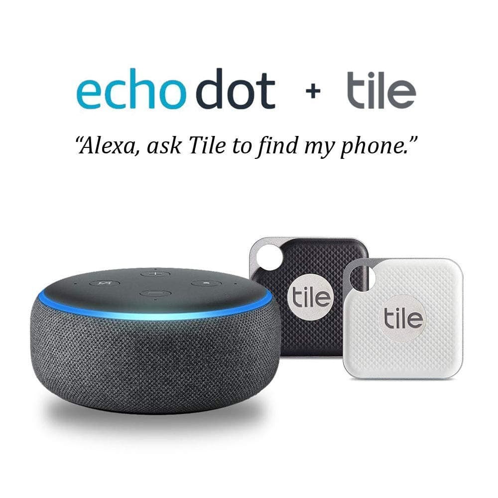 amazon echo dot 3rd gen 2 pack tile pro bluetooth. Black Bedroom Furniture Sets. Home Design Ideas