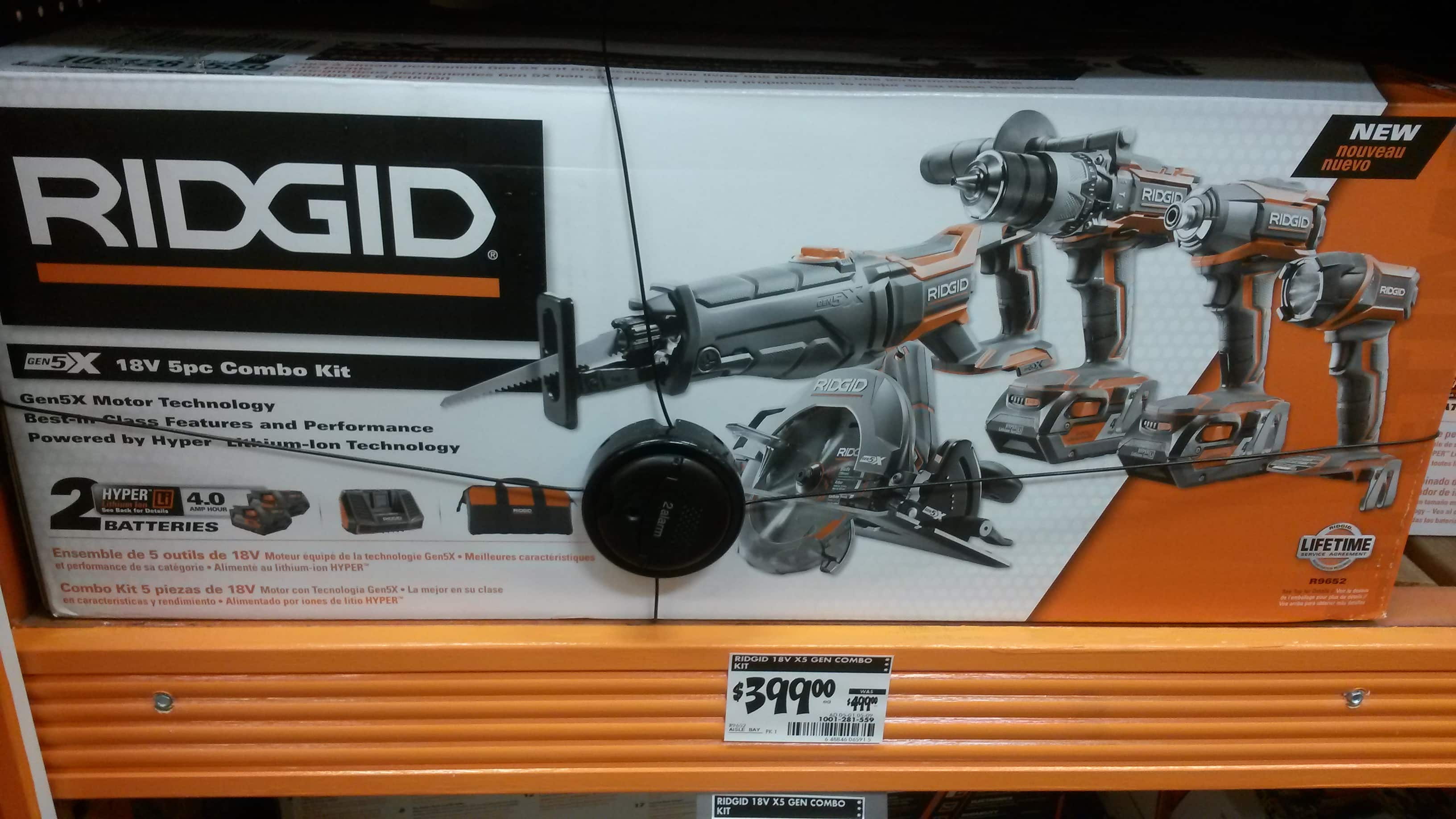"""RIDGID GEN5X Combo Kit (5 Power Tools) for $399 """"Special Introductory Offer"""" (or $320 w/Harbor Freight coupon, ymmv) at Home Depot"""