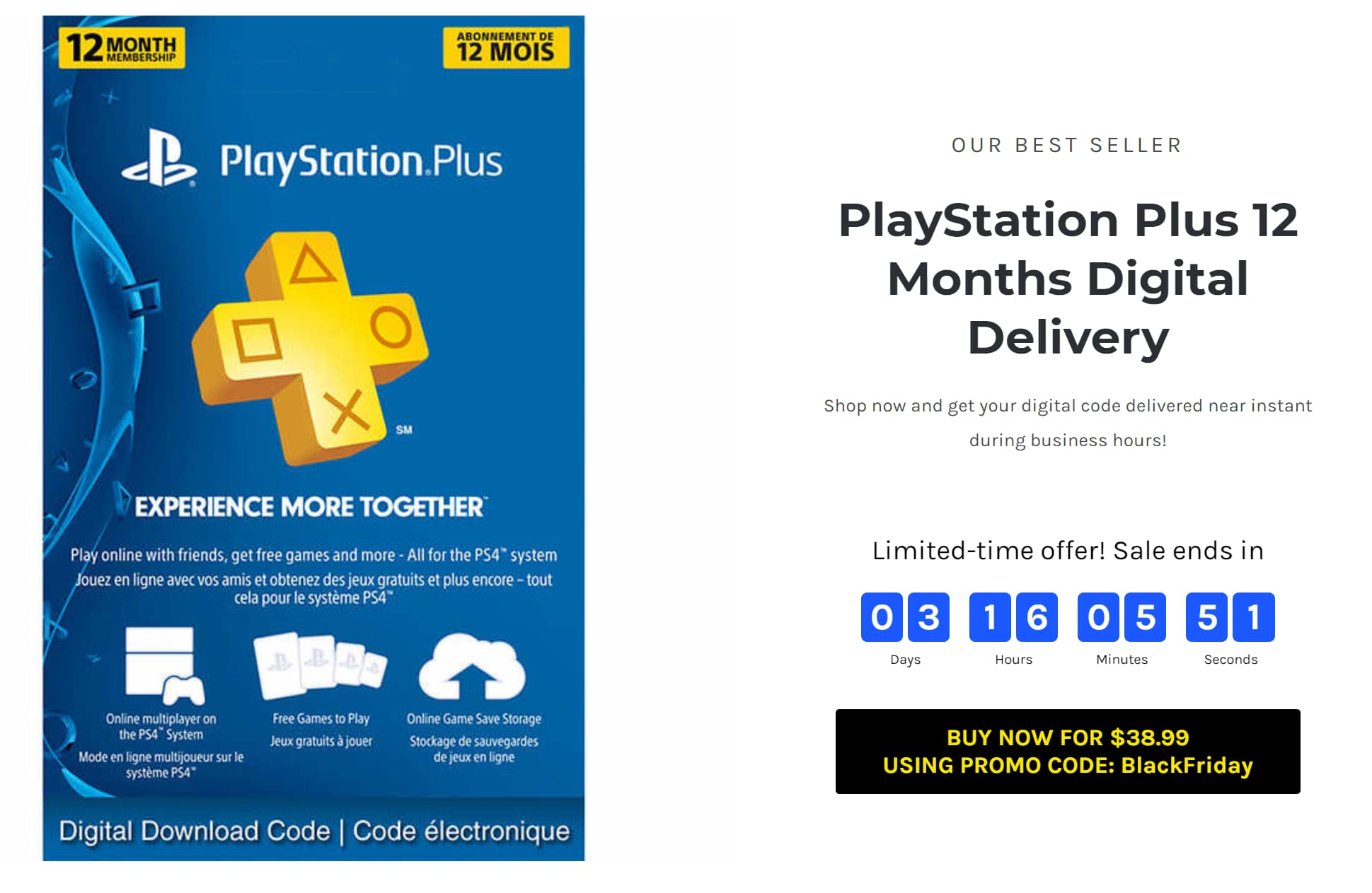 Playstation Plus 12 Month : SaugaGamers Digital Delivery $38.99