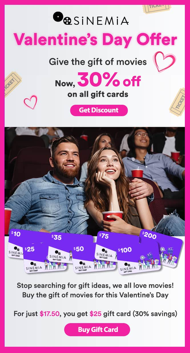Sinemia Gift Card Valentine's Day Sale, Cinema Movie-Subscription