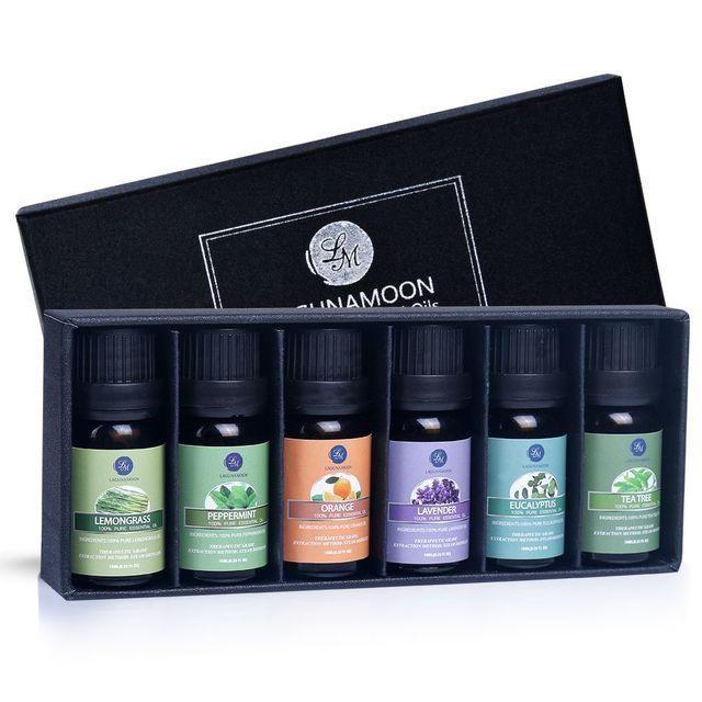 LAGUNAMOON Top 6 Pure Aromatherapy 10ml Essential Oils Gift Set for $10.49