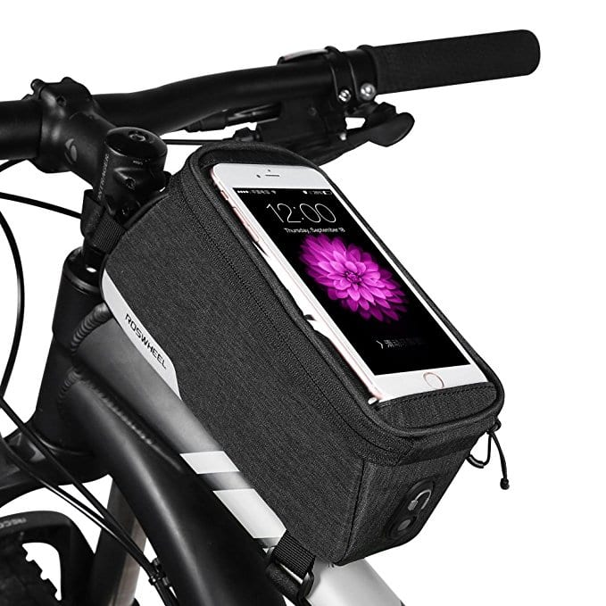Bike Bag, Top Tube Bike Frame Bags, 1L Capacity Water Resistant Phone Pouch with Velcro Strap, 5.7inch Touch Screen Bicycle Cell Phone Holder for $12.59 AC