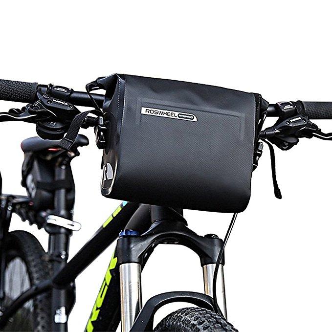 Bike Handlebar Bag, Waterproof 3L Cycling Bicycle Mountain Road MTB Bike Handlebar Bag Front Top Frame Pouch PVC Tube bag Roll Top Front Pannier Basket Bag for $16.49 AC