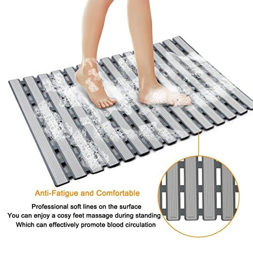 Non Slip Bath Mat With Suction Cups Bathroom Kitchen Door Floor Tub Shower Safety Mats Anti-bacteria Professional With Drain K4 Bathroom Products Home & Garden