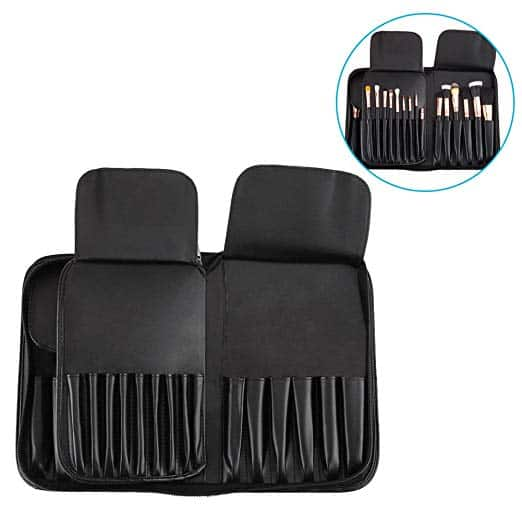 Professional Portable Makeup Brush Bag with 29 Pockets Cosmetic Brush Holder - PU Leather for $5.60 AC