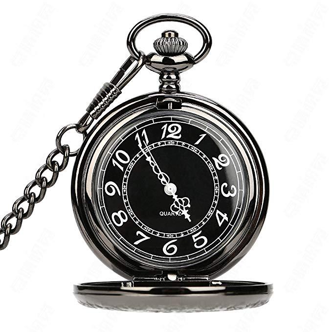Pocket Watch Vintage Hollow Quartz Antique Gear Case with Chain for Men (Black) for $7.00 AC
