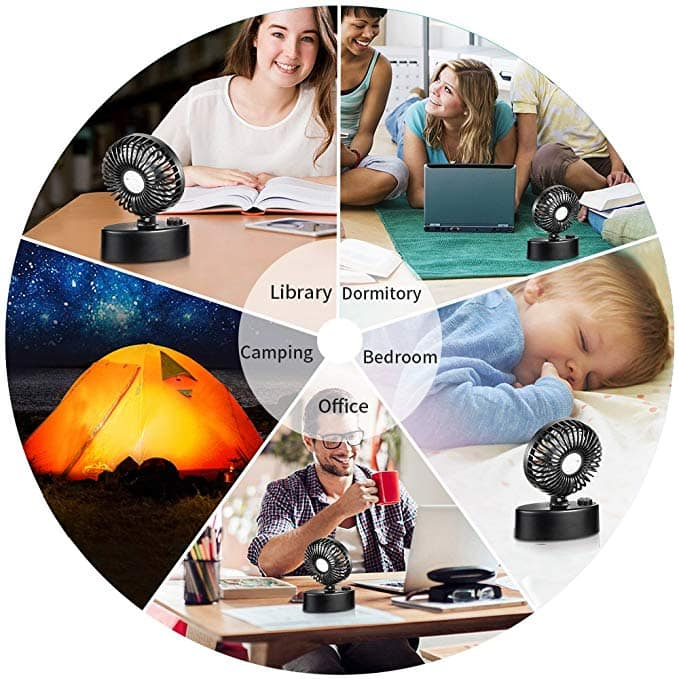 Mini Personal Table Fan, Powered by USB or Rechargeable Battery, Stepless Speed Regulation, Super Quiet (Black) for $8.00 AC