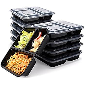 JACKYLED 10 pack 3 Compartment Meal Prep containers $8.84 @Amazon