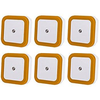 6 pack Orange LED Night Light Lamp with Smart Light Sensor for $6.29 @Amazon