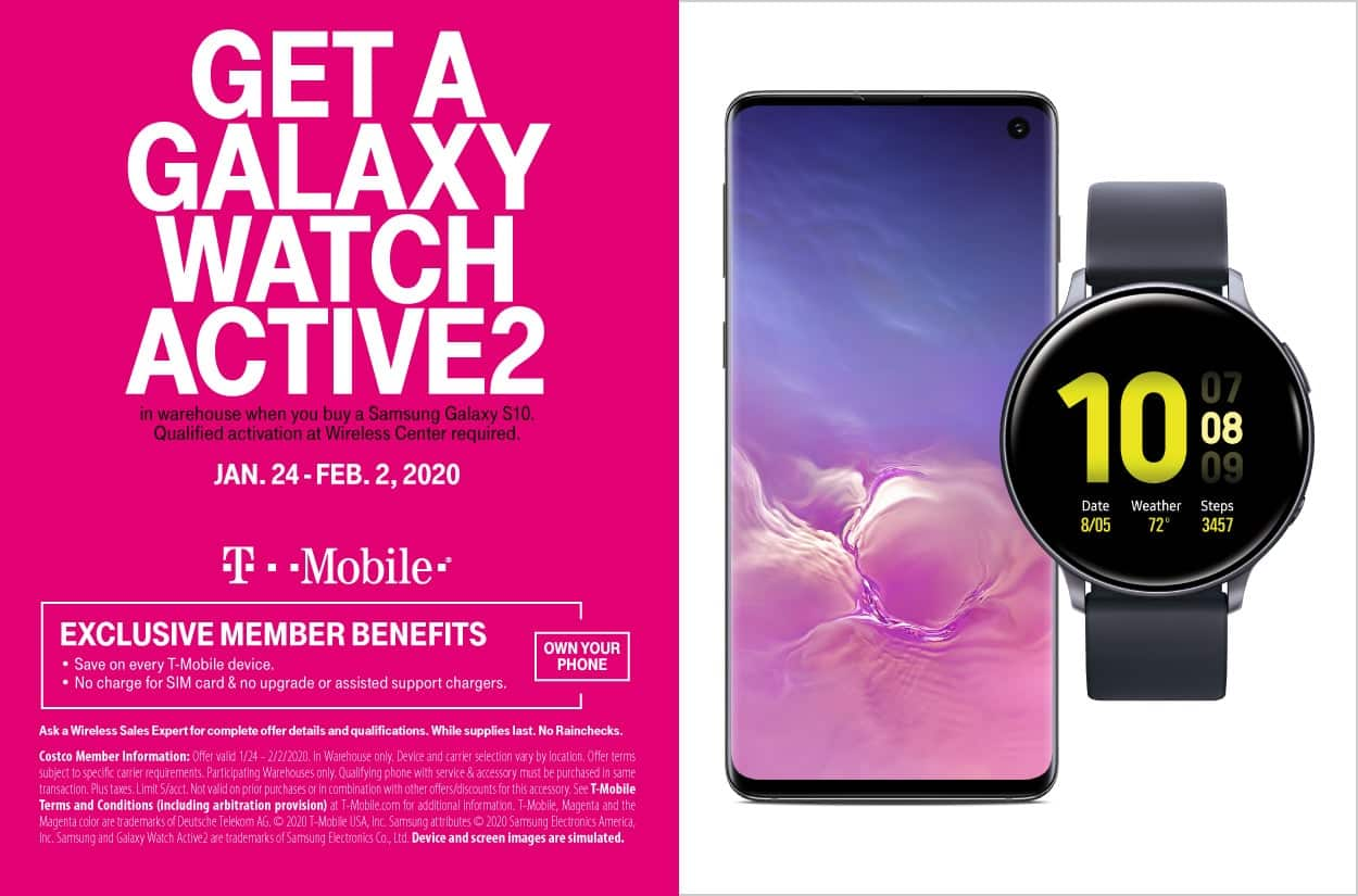 Costco Members : 128 GB Samsung Galaxy S10 (T-mobile) + Samsung Galaxy Watch Active 2 $649.99 plus taxes