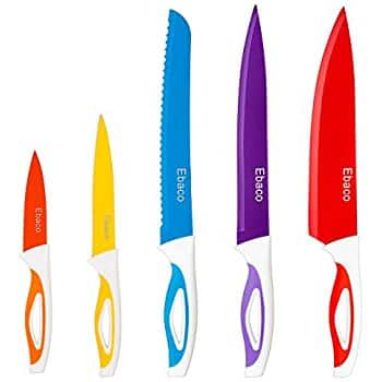 Amazon - Ebaco 10 Piece Colorful Knife Set - 5 Kitchen Knives with 5 Knife Sheath Covers - $7.49 after $6 Coupon
