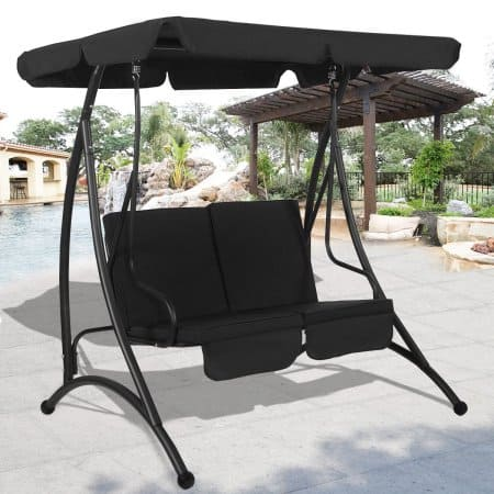 Walmart.com: Costway Black 2 Person Canopy Swing Chair Patio Hammock Seat Cushioned Furniture Steel - $89.99_