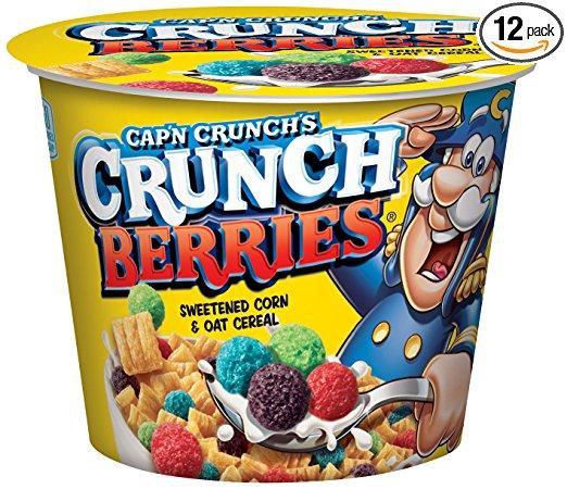 Amazon S&S: Cap'n Crunch Crunch Berries Breakfast Cereal, 1.3 oz, 12 Individual Cups - $7.19