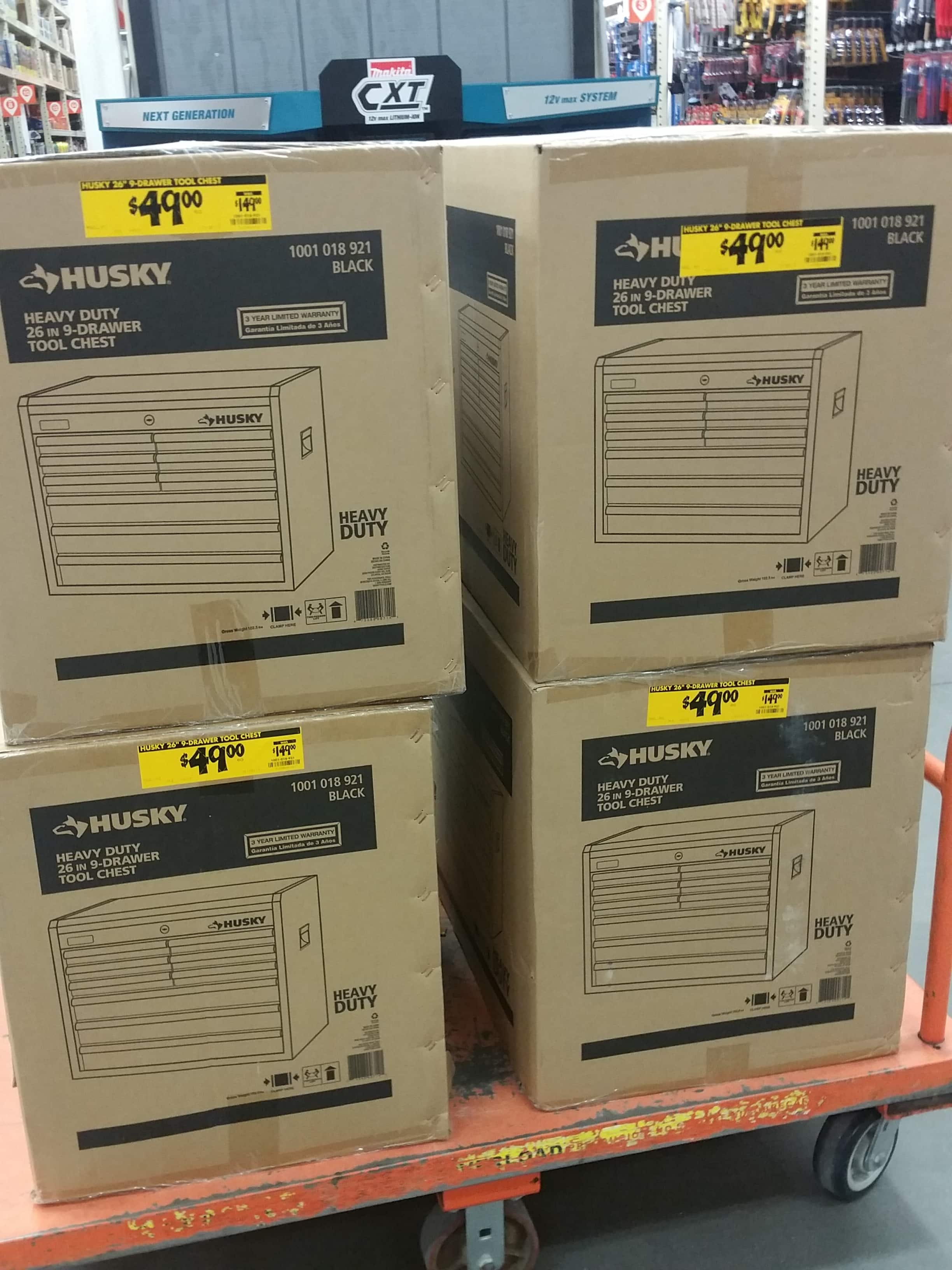 Husky heavy duty 26in 9 drawer tool chest $49 home depot b&m ymmv